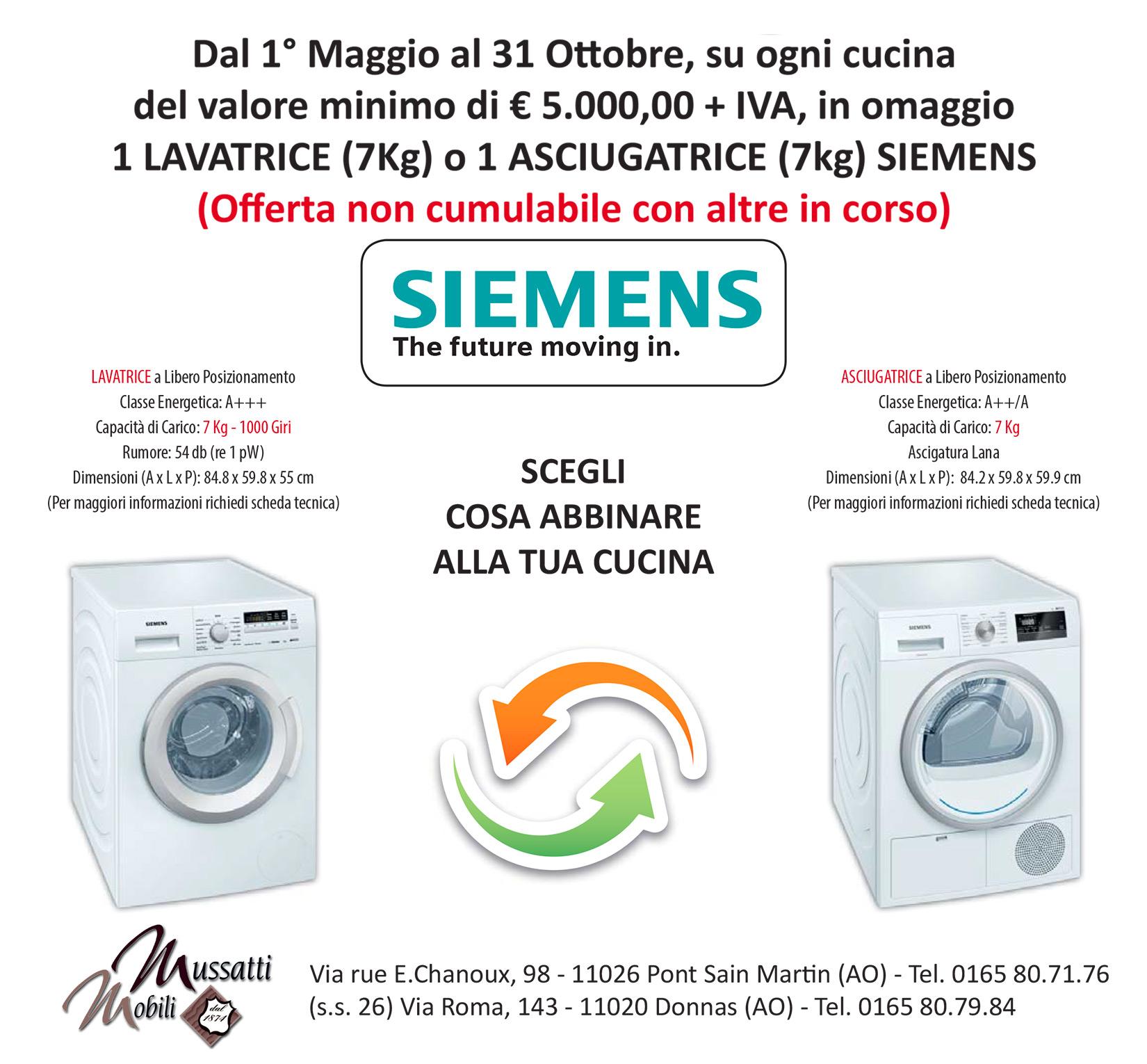 Da maggio ad ottobre lavatrice o lavastoviglie in regalo se acquisti una cucina.. richiedi informazioni